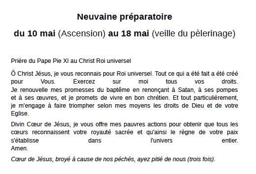 Neuvaine préparatoire au pèlerinage de Pentecôte 2018