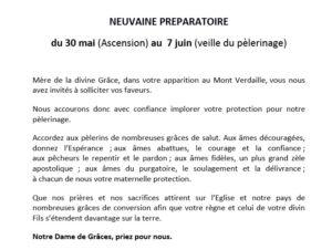 Neuvaine préparatoire au pèlerinage de Pentecôte 2019